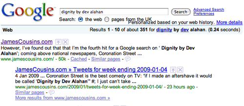 Dignity by Dev Alahan, I'm now number 1 in Google!
