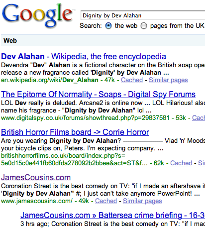 Google results for 'Dignity by Dev Alahan'
